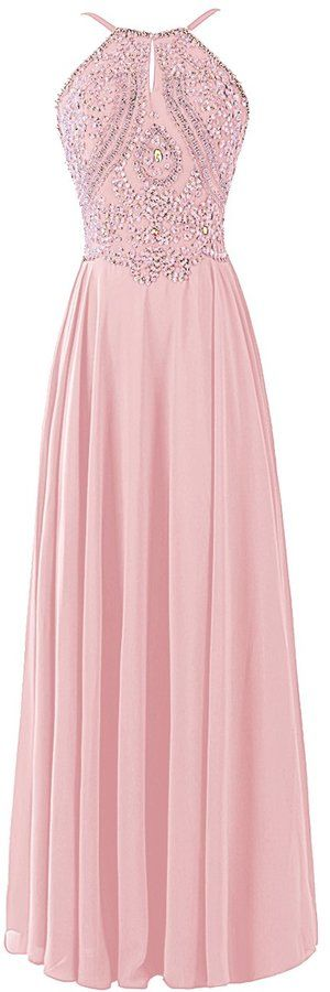 Dresstells® Chiffon Prom Dress Long Halter Bridesmaid Gown with Beads Champagne Size 4