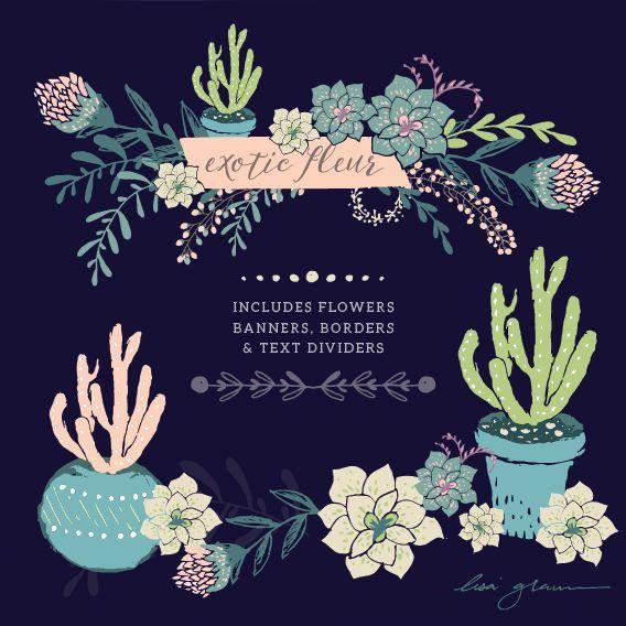 FREE succulent clip art courtesy of Lisa Glanz. WOW! Cute cactus clip art and flower clip art elements. ADORABLE.