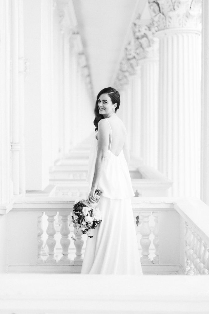 Fine art wedding photography at the ICA in London - #JulieMichaelsenPhotography Styled by Glimmer and Threads Floral design by Jay Archer Cutlery Dress by Ivy & Aster from Heart Aflutter Bridal Jewels by Bear Brooksbank Hair and make by Kylie McMichael Model is Sylvia Sparkles