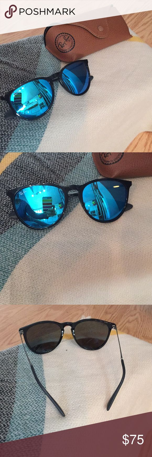 EUC Authentic Ray-Ban Erika sunglasses EUC Authentic Ray-Ban Erika sunglasses with blue mirrored lens. Black frame and black rubber ear pieces. Comes with authentic Ray ban brown case. Worn a few times- almost new condition! Ray-Ban Accessories Sunglasses