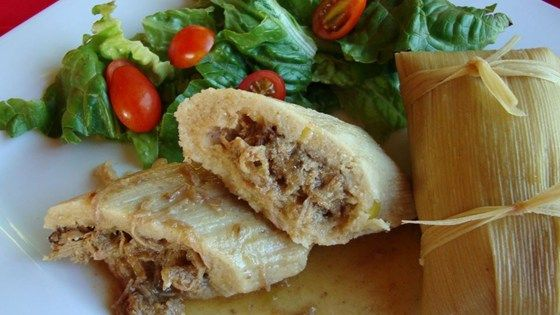 I had been looking for a Tamale recipe for years. One day I went to the international market and stood in the Mexican aisle till a woman with a full cart came by. I just asked her if she knew how to make Tamales. This is her recipe with a few additions from me. This is great served with refried beans and a salad.