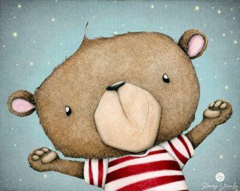 arte stampa orso strisce rosse desideri di di staceyyacula