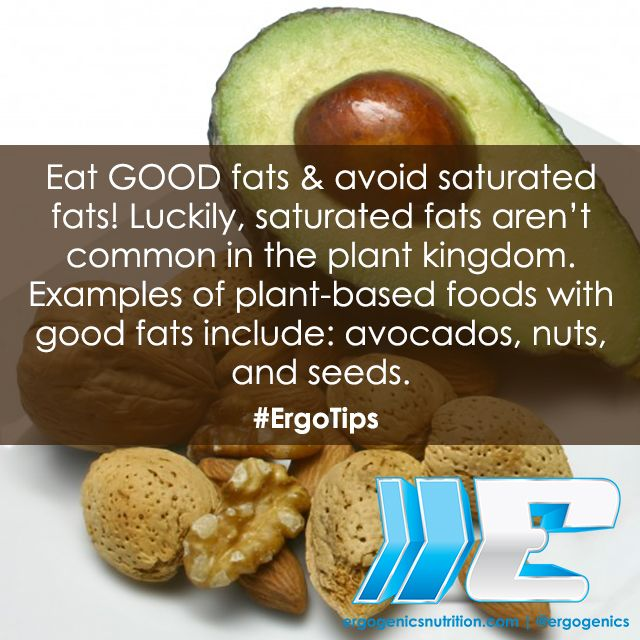 Eat GOOD fats, and avoid saturated fats! #ErgoTips #plantbased