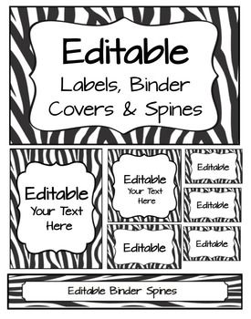 Editable Labels, Binder Covers & Spines - Zebra