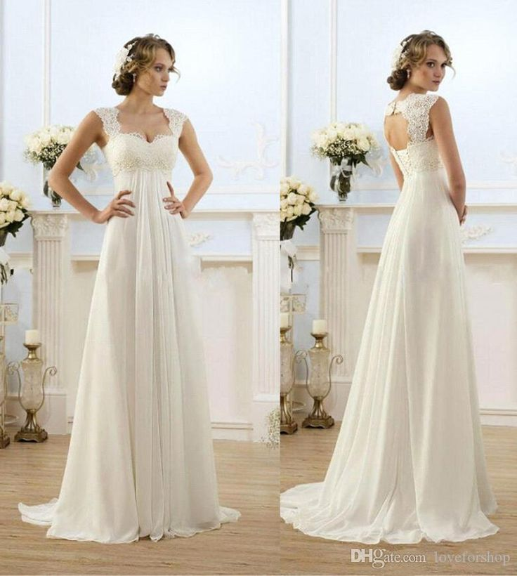 Vintage Modest Wedding Gowns Capped Sleeves Empire Waist Plus Size Pregant Wedding Dresses Beach Chiffon Country Style Bridal Gown Maternity Wedding Clothes Wedding Dress Sale From Loveforshop, $39.27| Dhgate.Com