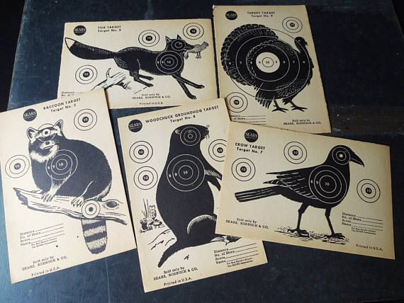 Animal BIrd  Vintage Paper Shooting Targets  Sears Roebuck