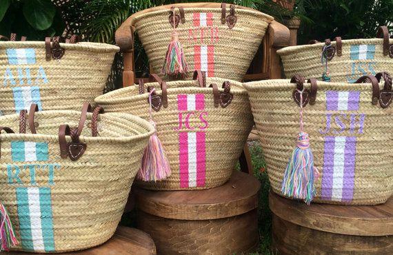 benutzerdefinierte monogrammiert Tasche, anpassen, Strohsack, Initialen Strandtasche, Hand Geschenktüte, personalisierte französischen Markt Korb, personalisierte Strandtaschen