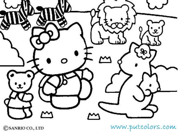 Hallo Kitty And Friends Happy Christmas Coloring Page