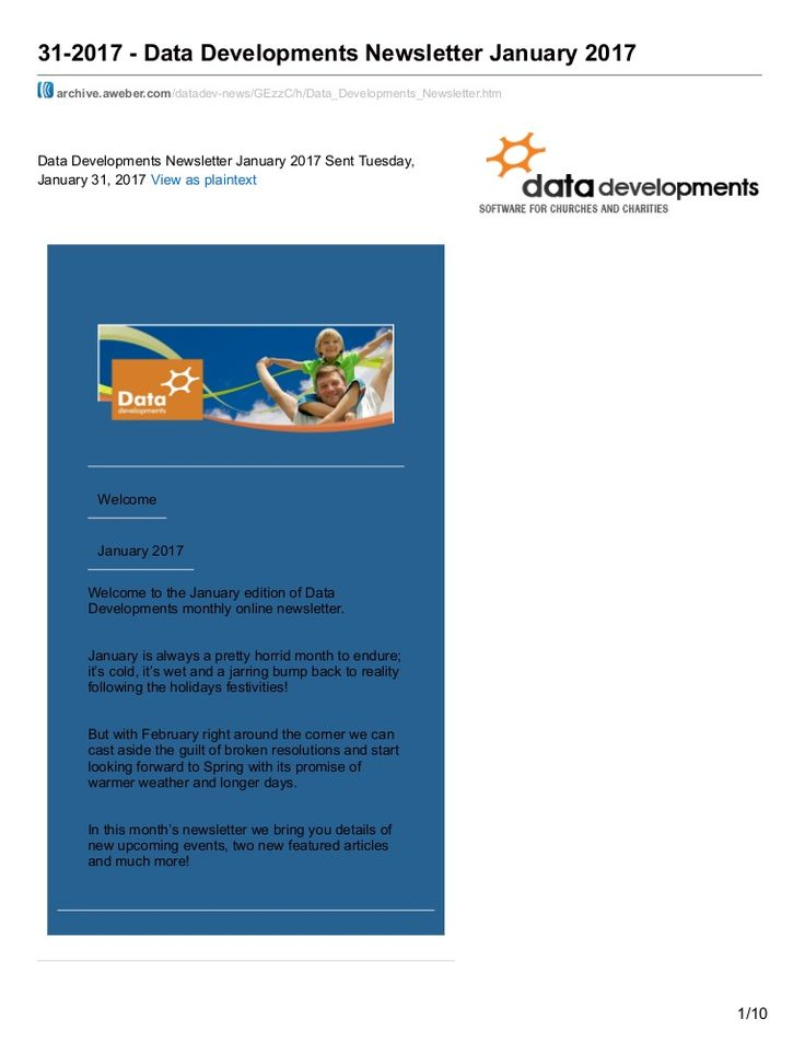 Welcome to the January edition of Data Developments monthly online newsletter.  January is always a pretty horrid month to endure; it's cold, it's wet and a jarring bump back to reality following the holidays festivities!  But with February right around the corner we can cast aside the guilt of broken resolutions and start looking forward to Spring with its promise of warmer weather and longer days.