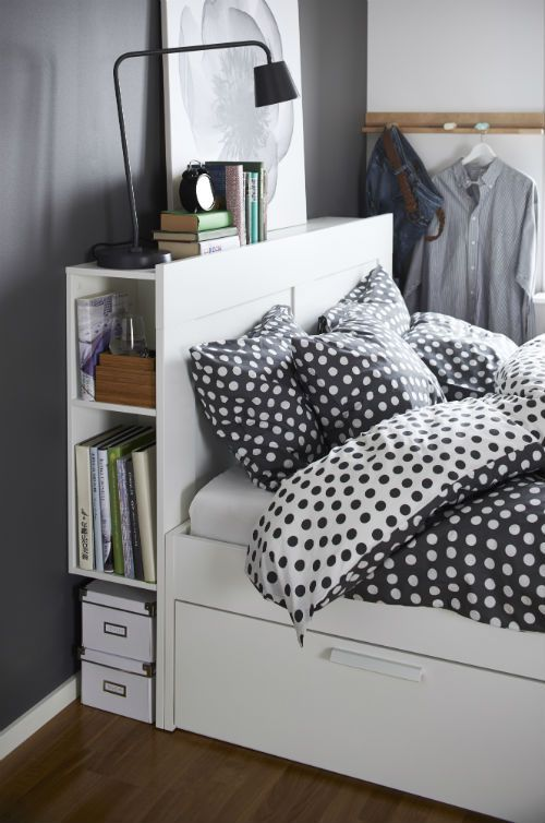 When you're in a small space, a bed with extra storage will help keep things neat and tidy. You can add drawers and a headboard to the BRIMNES bed frame to add tons of places for extra organization and storage.