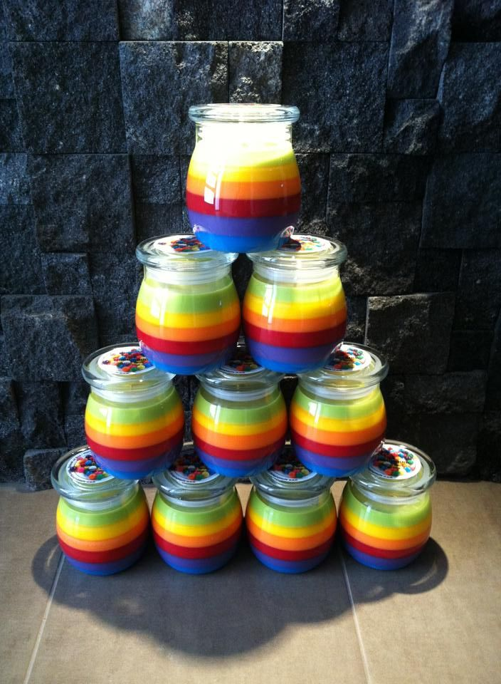 This colourful creation was made by the talented Nic of Splash of Soy using our coloured dye chips and fragrances.