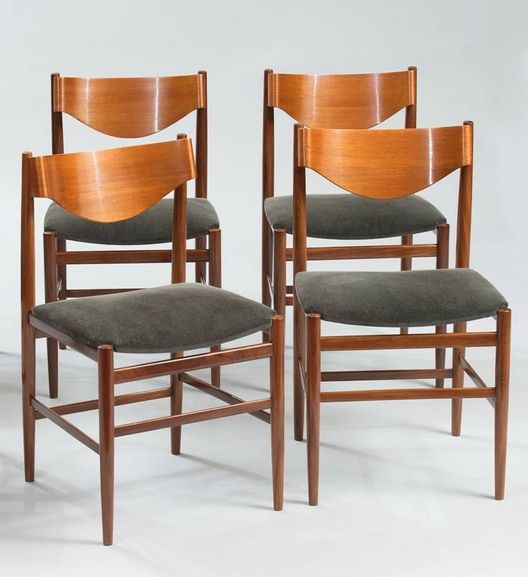 Gianfranco Frattini; Teak and Molded Teak Plywood Dining Chairs for Cassina, 1960s.