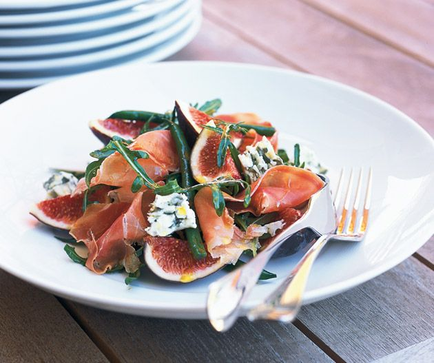 Matt Moran's simple Fig, baby bean, prosciutto, blue cheese and rocket salad. Photograph © Geoff Lung.