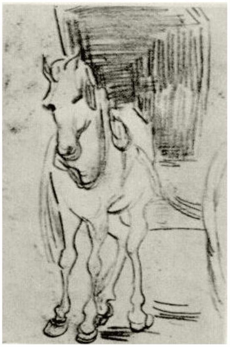 Horse and Carriage Vincent van Gogh Drawing, Black chalk, pencil Auvers-sur-Oise: June - July , 1890