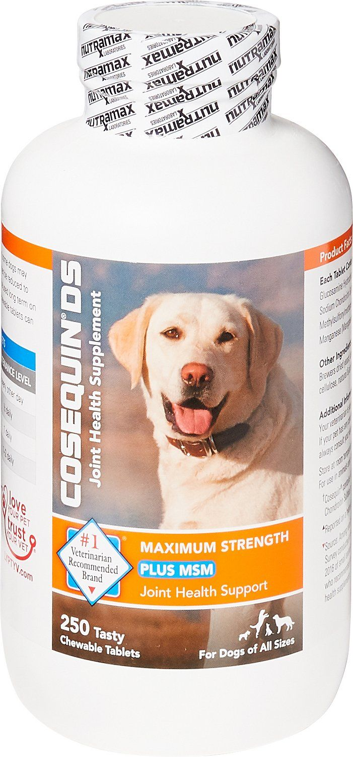 Nutramax Cosequin Maximum Strength (DS) Plus MSM is a joint health supplement for dogs containing glucosamine, chondroitin sulfate, and MSM. It helps to support and maintain the health of your dog's joints and connective tissue. The #1 veterinarian recommended joint health supplement brand.