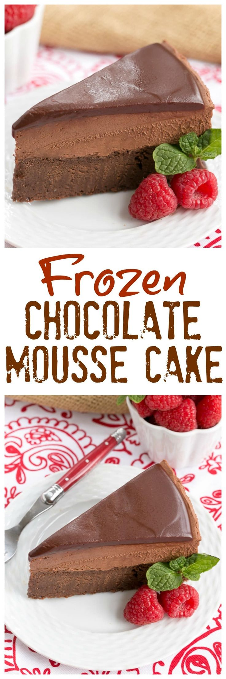 Frozen Chocolate Mousse Cake | A swoon worthy chocolate dessert! @lizzydo
