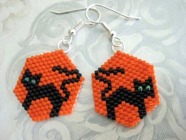 Peyote Earrings - Black Cat for Halloween Beaded Seed Bead. via Etsy.