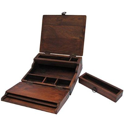 Great Antique Style Wood Folding Travel Writing Lap Desk