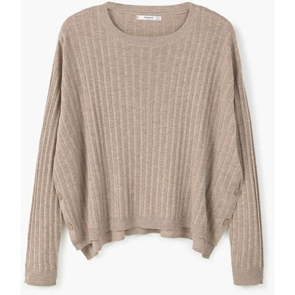 Decorative Button Sweater ($13) ❤ liked on Polyvore featuring tops, sweaters, knit top, chunky cable knit sweater, brown top, cable sweaters and mango sweater