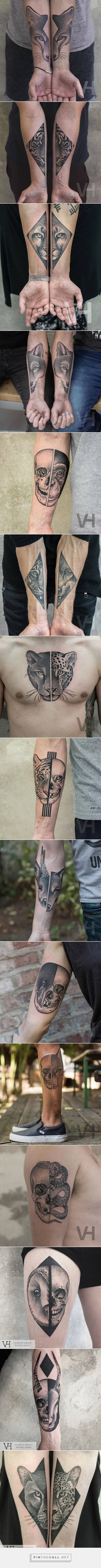 Split Animals Faces Tattoos Inked on Separate Sides – Fubiz Media - created via https://pinthemall.net