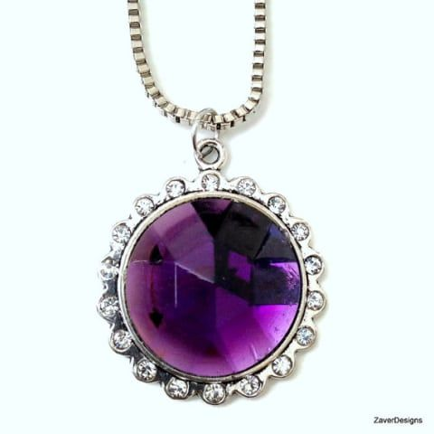 Purple Pendant, Dark Purple Pendant, Rhinestone Pendant, Round Pendant, Circle Pendant, Necklace, Pendant Necklace, Pendant Chain, Bling
