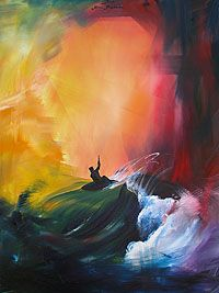 Stormy surf painting. Such beautiful warm colors. Remi Bertoche