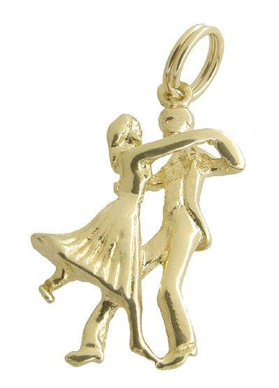 Ballroom Dancers Charm in 14 Karat Yellow Gold