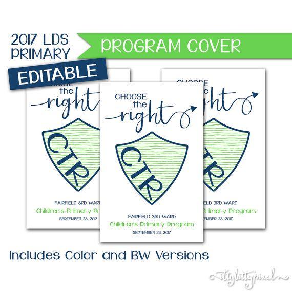 Sacrament Program Cover  LDS Primary 2017 Theme Editable