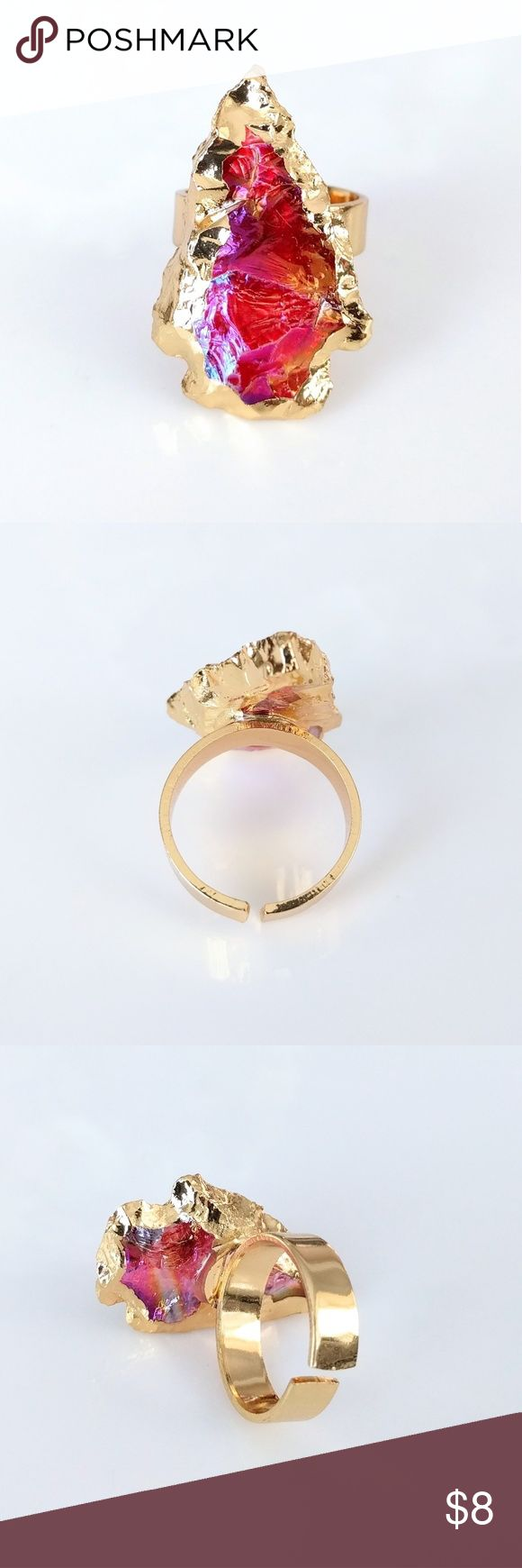 """Gold-plated carved aura quartz arrowhead ring Nickel and lead free.  Genuine stone.  About a size 7 but can adjust slightly.  PRICE IS FIRM and extremely reasonable; click """"add to bundle"""" to save 10% on your purchase of 2+ items today! Jewelry Rings"""
