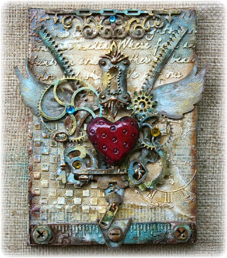 Steampunk Style Mixed Media Canvas