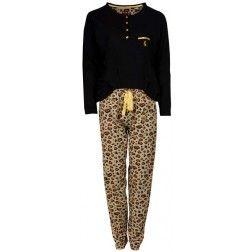 Panter design broek bij koudebestendige dames pyjama met zwart bovendeel