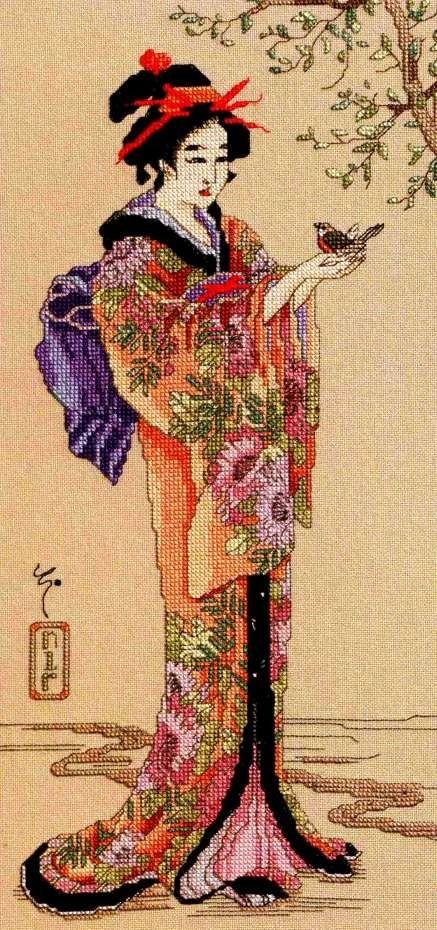 0 point de croix geisha et oiseau - cross stitch geisha and bird