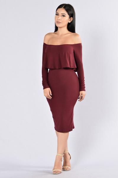 Off On My Own Dress - Wine/Burgundy | Fashion Nova