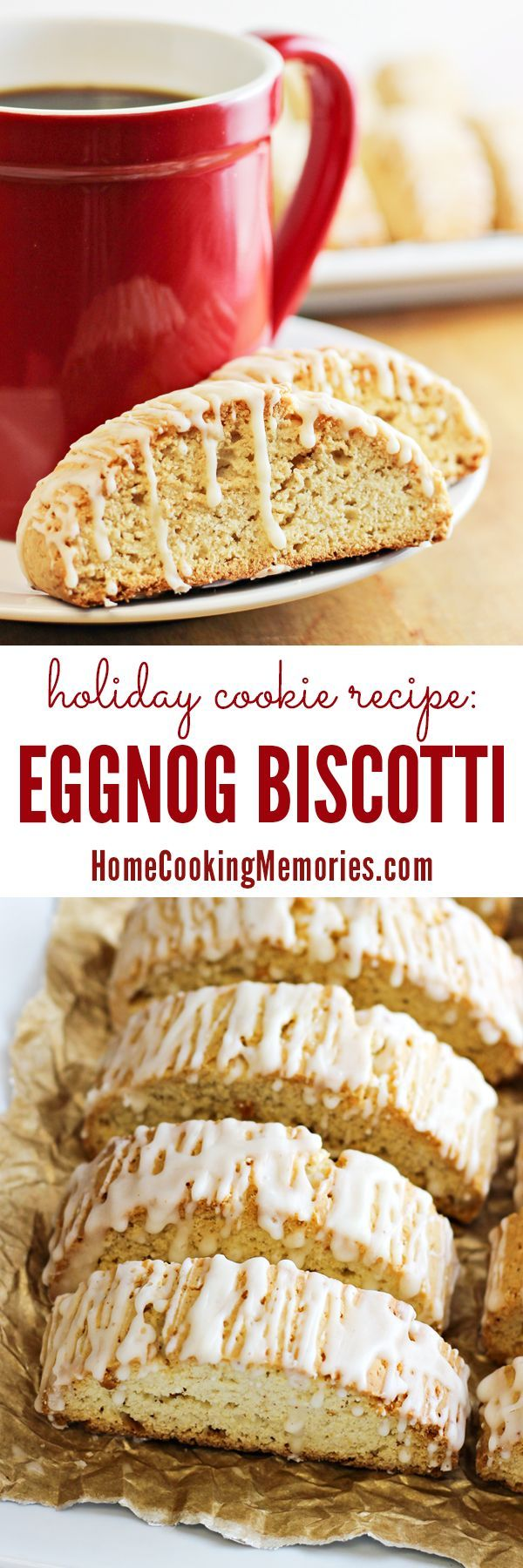 'Tis the season for this delicious Eggnog Biscotti recipe! A crispy holiday cookie recipe that's great for pairing with a cup of coffee, tea, or hot chocolate.