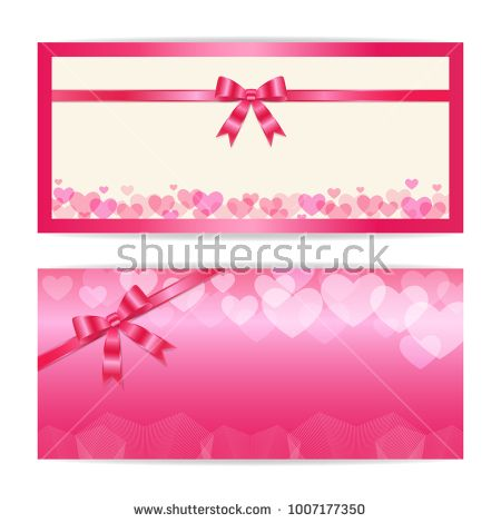 Love and sweet theme gift certificate, voucher, gift card or cash coupon template in vector format