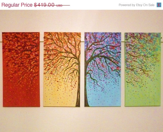 Commission order large original  tree oil painting - rust red, blue , green, yellow 4 canvas set 48 x 24 by Vadal. $251.40, via Etsy.