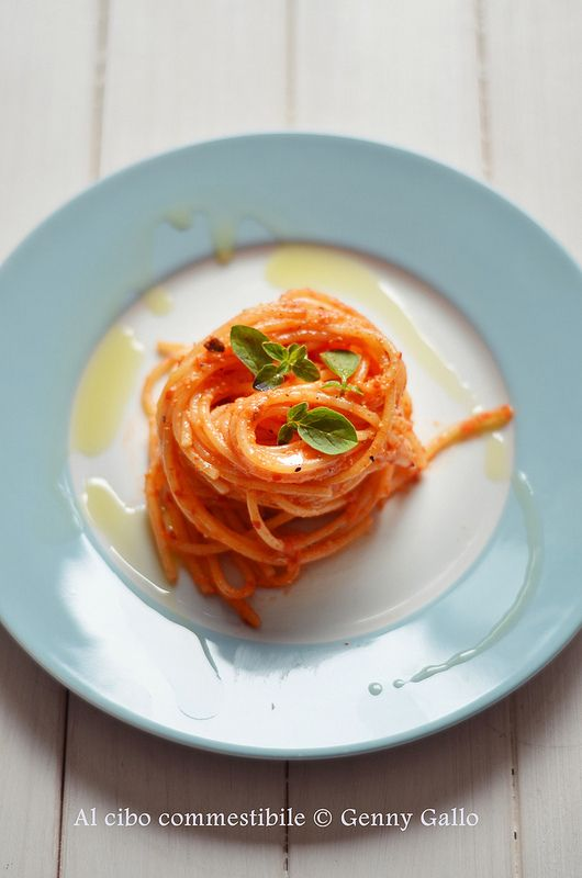 Spaghetti con sarde e crema di peperoni!