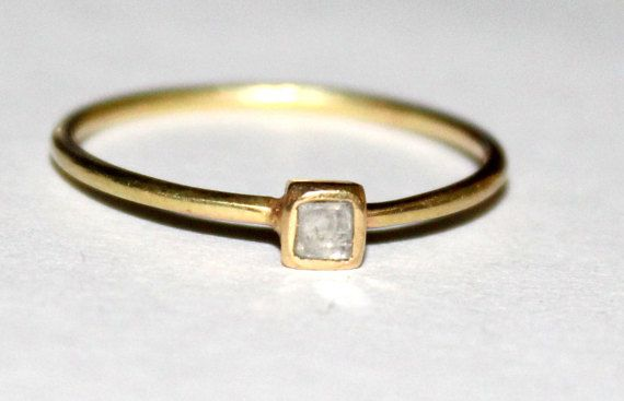 Square Diamond ring,Flat Diamond Ring,Tiny Square Diamond Ring,Square solitaire diamond ring,14k Gold Square diamond ring,Tiny diamond ring