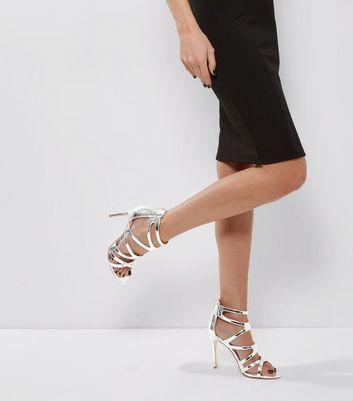 Silver Metallic Strappy Heeled Sandals