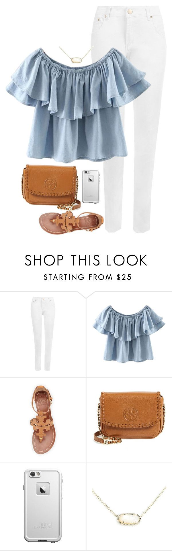 """""""1st day of school today"""" by apemb ❤ liked on Polyvore featuring WearAll, WithChic, Tory Burch, LifeProof and Kendra Scott"""