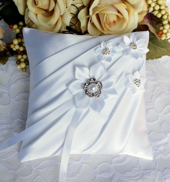 Ring Pillow  Ring Bearer Pillow  Satin Ring by OvationsInStyle
