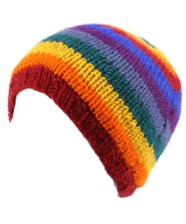 LOUDelephant Wool knit beanie hat with fleece lining - Rainbow