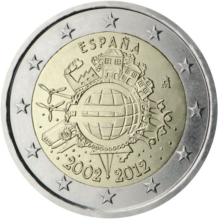 Monedas - X Aniversario del €uro - Moneda 2 euros España 2012