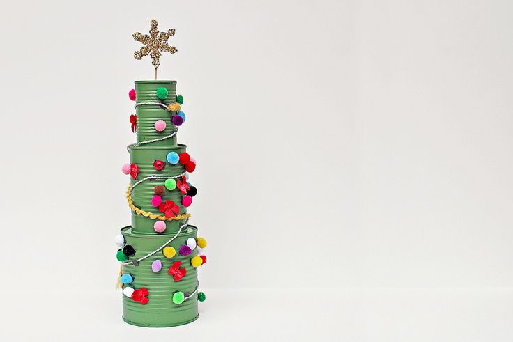 christmas tree with tin cans. my kids would love to do this!