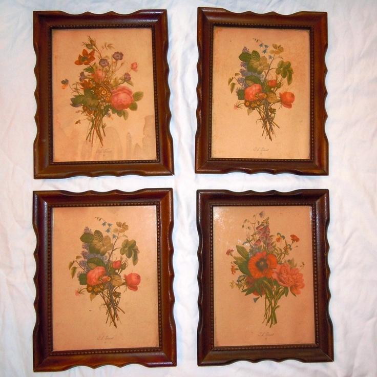 Antique 1930s Framed Floral Print Pictures By J L Prevost
