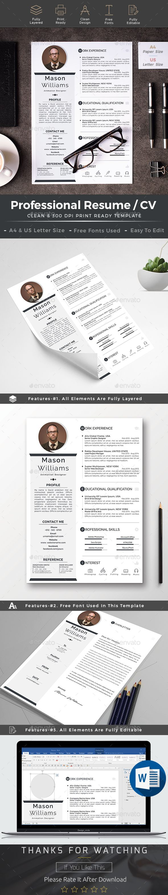 Resume cv word Simple Resume TemplateCreative