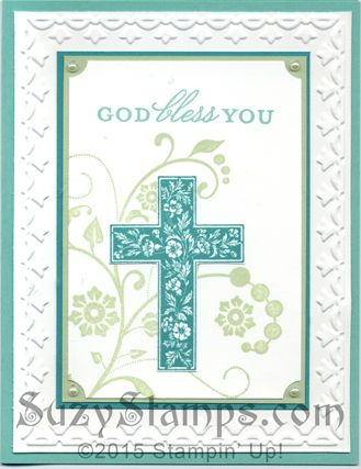 Stampin' Up! Cards - Flowering Flourishes and retired Crosses of Hope Stamp Sets, retired Framed Tulips Embossing Folder, Baptism