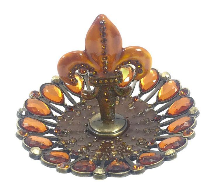 "Welforth Bejeweled Fleur De Lis Ring Holder & Jewelry Organizer, Amber Crystals, 3.5"" Diameter"