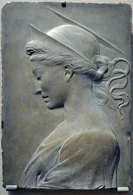 Sandstone relief sculpture of St Helena (mother of Roman Emperor Constantine)  by Desiderio da Settignamo,  (Renaissance Florence, 1429).