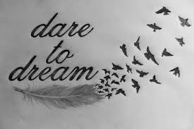 Dare to dream feather to birds forearm tattoo